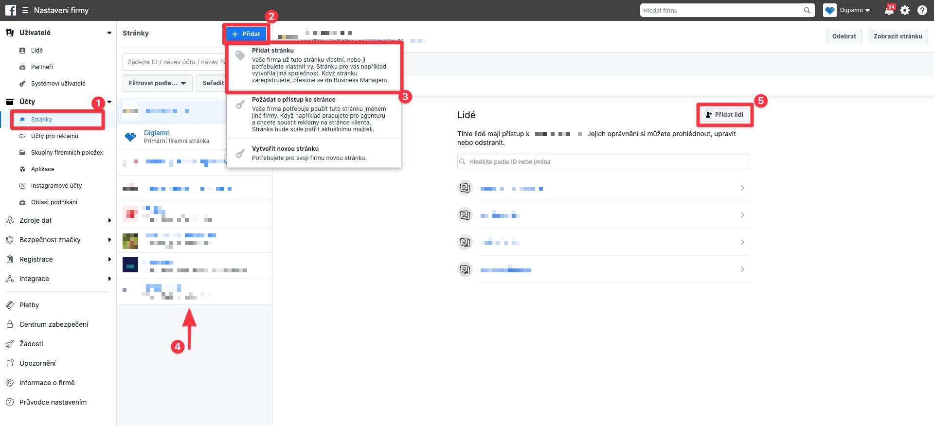 Grafické znázornění postupu přidání facebookové stránky do Business Manageru.