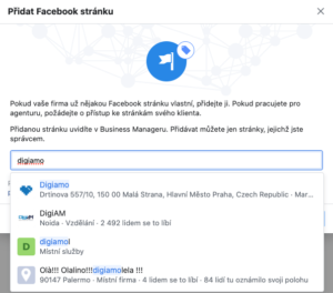 Vyhledávání facebookové stránky v Business manageru.