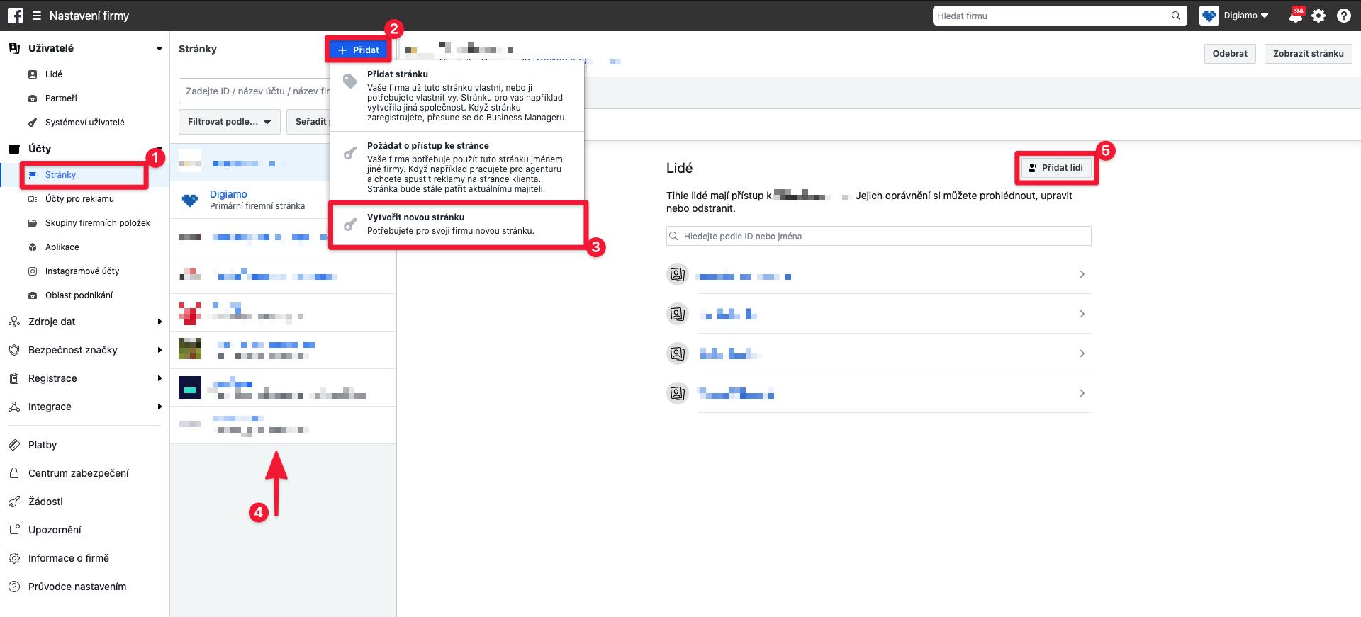 Vytvoření nové facebookové stránky v rámci Business Manageru.