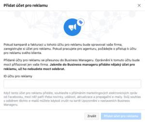 Okno přidání účtu pro reklamu do Business Manageru