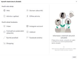 Okno vytvoření vlastního okruhu uživatelů v Business Manageru