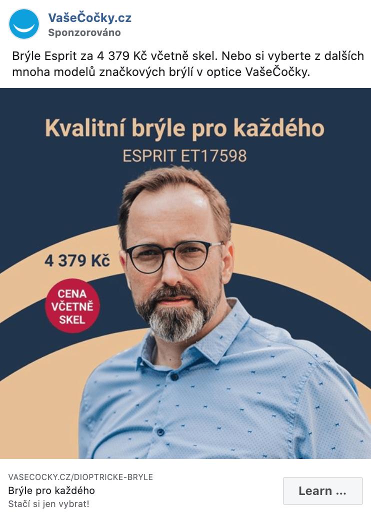 Náhled reklamy VašeČočky.cz na Facebooku